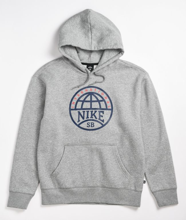 Nike SB Graphic Heather Grey & Navy Hoodie