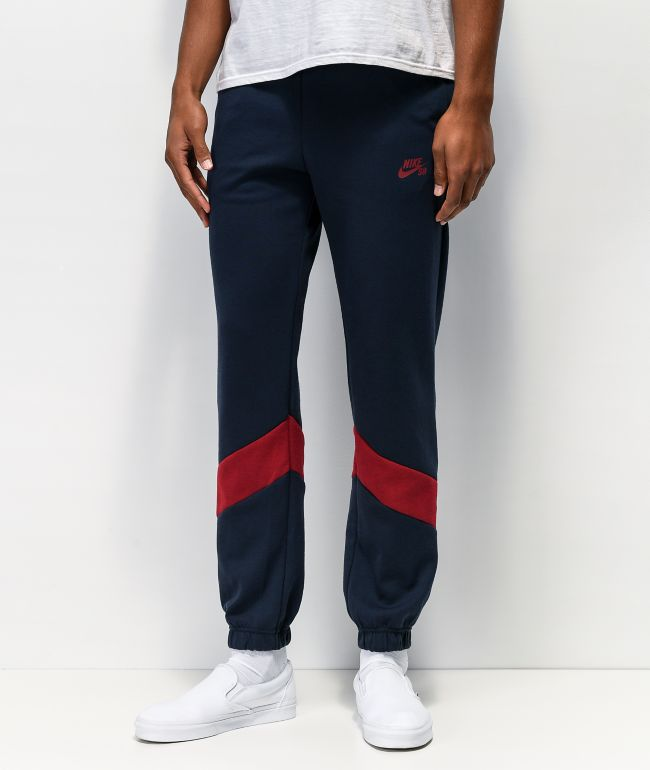Nike SB Icon Fleece Navy & Maroon Track Pants
