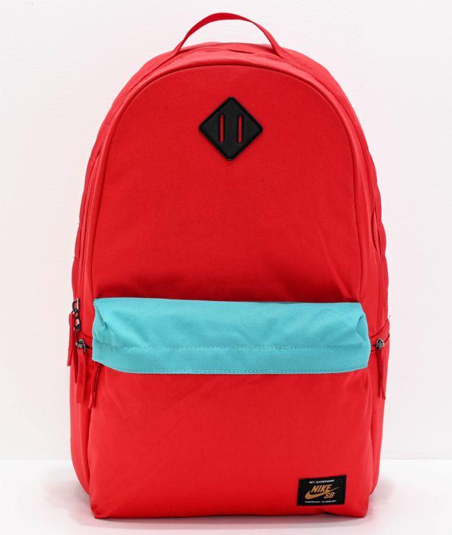 rutina Acuoso tienda de comestibles  Nike SB Icon Red & Turquoise Backpack | Zumiez