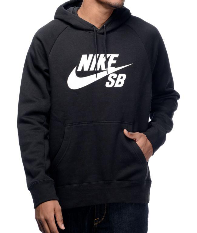 Nike SB Icon sudadera con capucha en blanco y negro