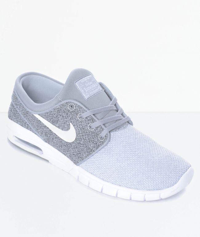 Rápido carga buffet  Nike SB Janoski Air Max Wolf Grey, Grey & White Skate Shoes | Zumiez.ca