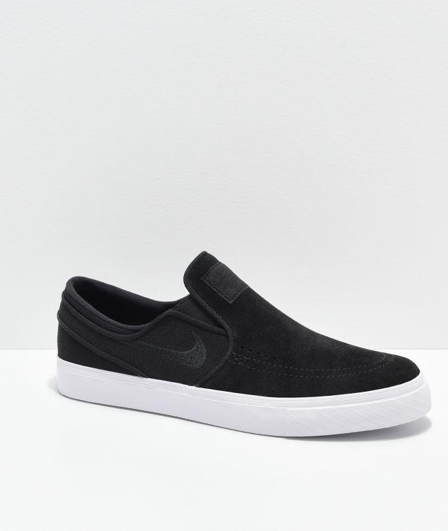 Nike SB Janoski Black, White, Suede & Canvas Slip-On Skate Shoes