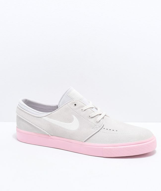 Nike SB Janoski Grey & Bubblegum Pink Suede Skate Shoes