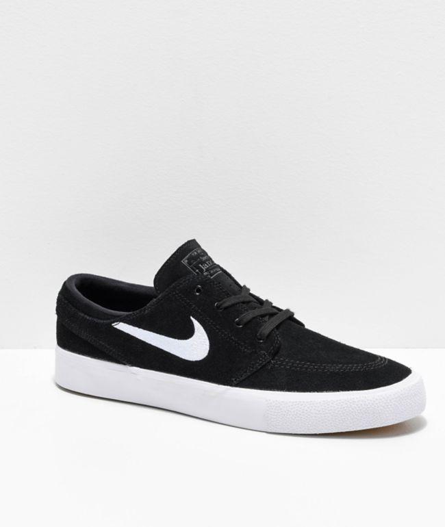 Nike SB Janoski RM Black & White Suede Skate Shoes