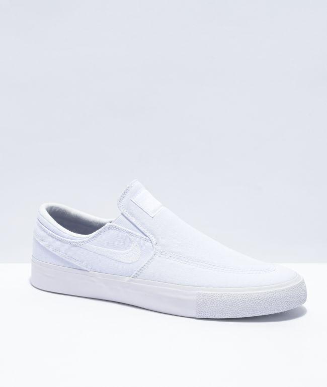 Nike SB Janoski Slip-On White Canvas Skate Shoes