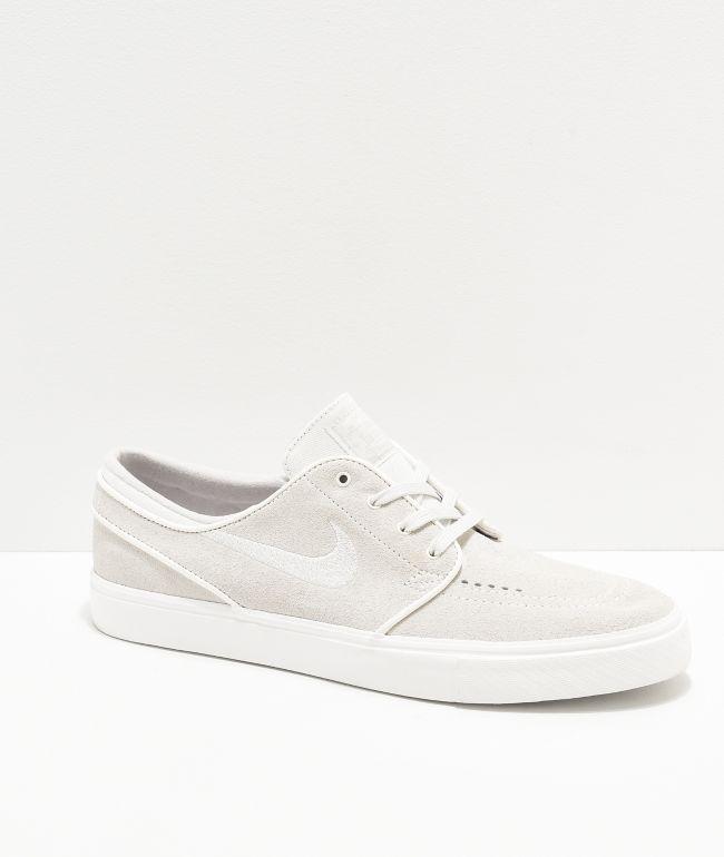 Nike SB Janoski Summit White & Grey Suede Skate Shoes