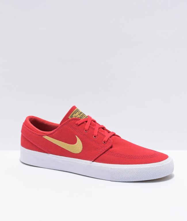 Nike SB Janoski University Red & Gold Canvas Skate Shoes