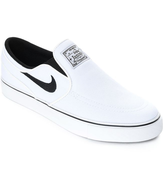 canvas slip on shoes white