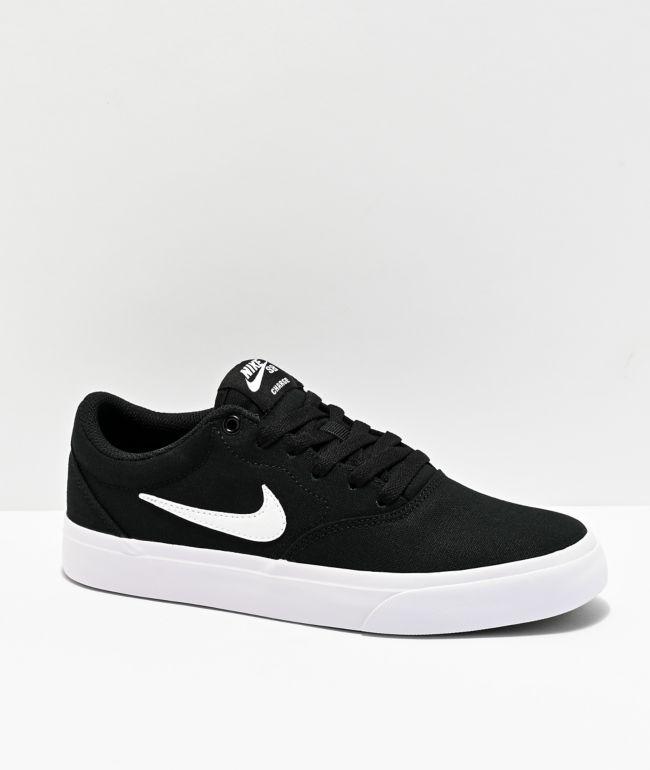 Nike SB Kids Charge Black & White Skate Shoes