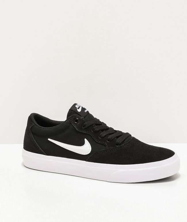 Nike SB Kids Chron GS Black & White Skate Shoes