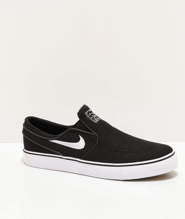 Nike SB Kids Janoski Slip-On Black & White Skate Shoes