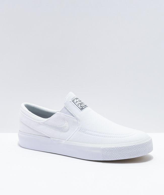 Nike SB Kids Janoski Slip-On White Canvas Skate Shoes