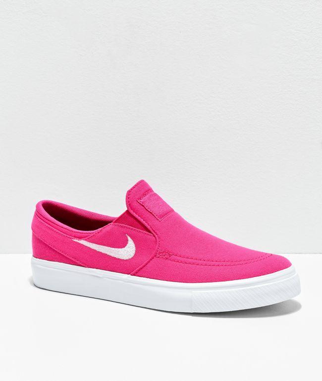 Nike SB Kids Janoski Watermelon Pink Slip-On Skate Shoes
