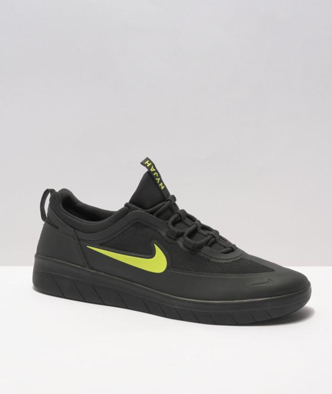 Nike SB Nyjah Free 2.0 Black & Cyber Green Skate Shoes