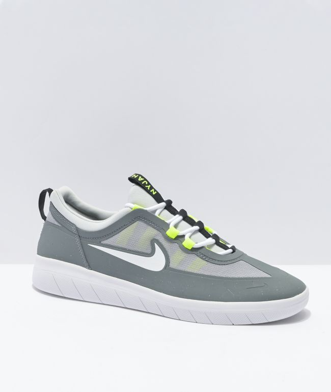 Nike SB Nyjah Free 2.0 Smoke Grey & Green Skate Shoes