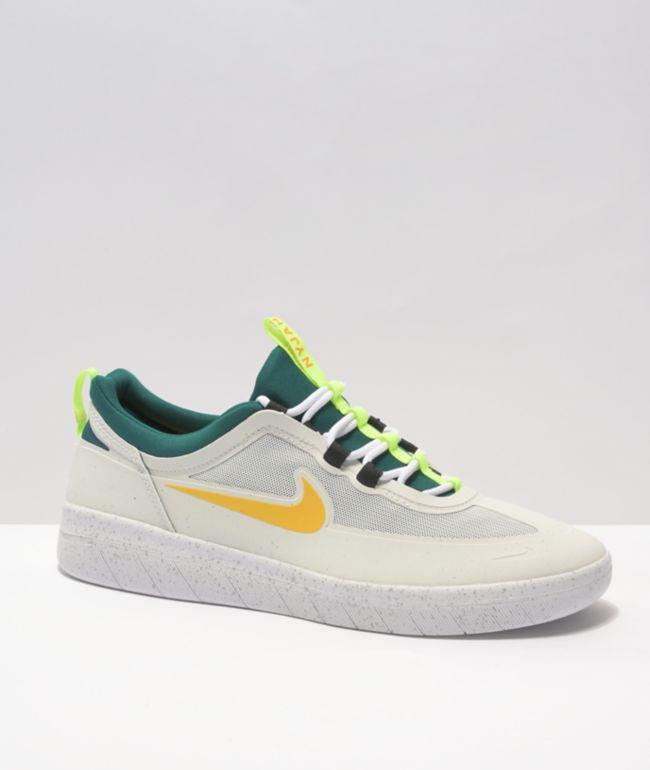 Nike SB Nyjah Free 2.0 White, Green, & Gold Skate Shoes
