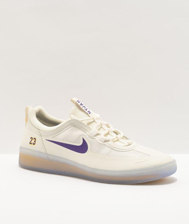 Nike SB Nyjah Free 2.0 x NBA White, Purple, & Gold Skate Shoes