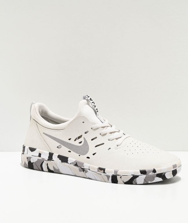 Nike SB Nyjah Free Summit White & Camouflage Skate Shoes