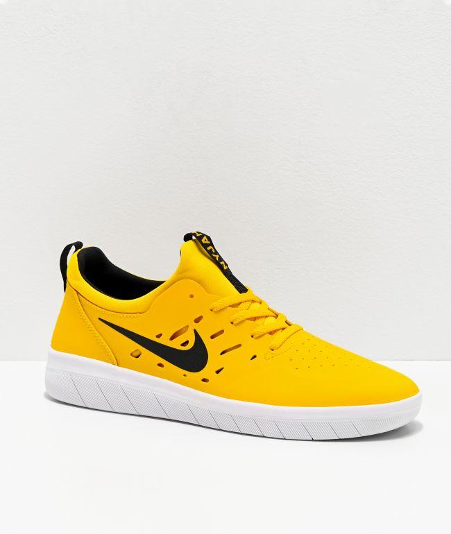 Nike SB Nyjah Free zapatos de skate amarillos, negros y blancos