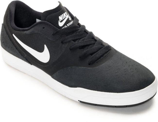 Nike SB Paul Rodriguez 9 CS Black & White Skate Shoes | Zumiez