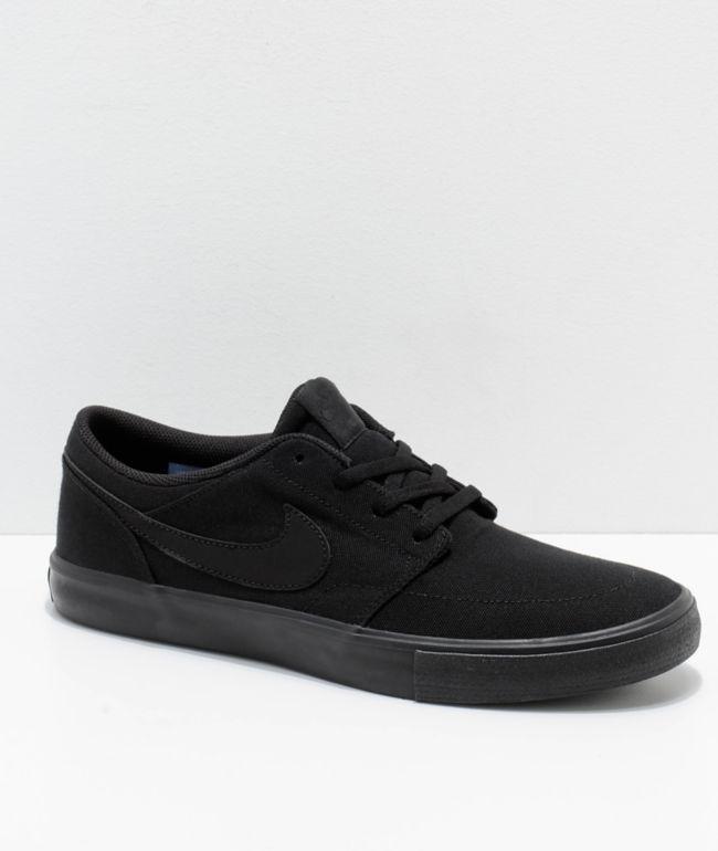 Nike SB Portmore II All Black Canvas Skate Shoes