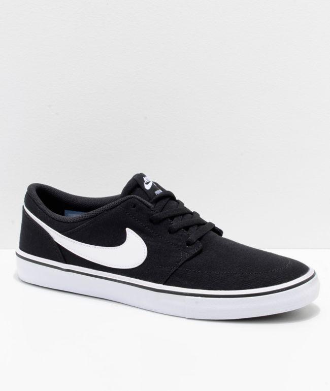 rasguño Desventaja Tóxico  Nike SB Portmore II Black & White Canvas Skate Shoes | Zumiez