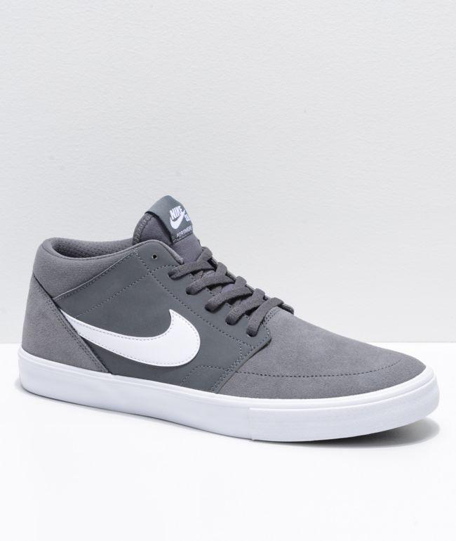 Nike SB Portmore II Mid Grey \u0026 White