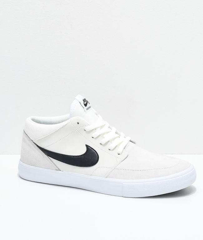 Nike SB Portmore II Mid Summit White & Black Skate Shoes