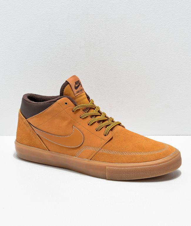 Rispetto Propriamente Secondo grado  Nike SB Portmore Mid II Bronze & Gum Skate Shoes | Zumiez