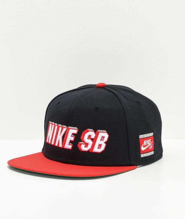 Prisionero de guerra construcción naval Física  Nike SB Pro Cap gorra roja y negra   Zumiez
