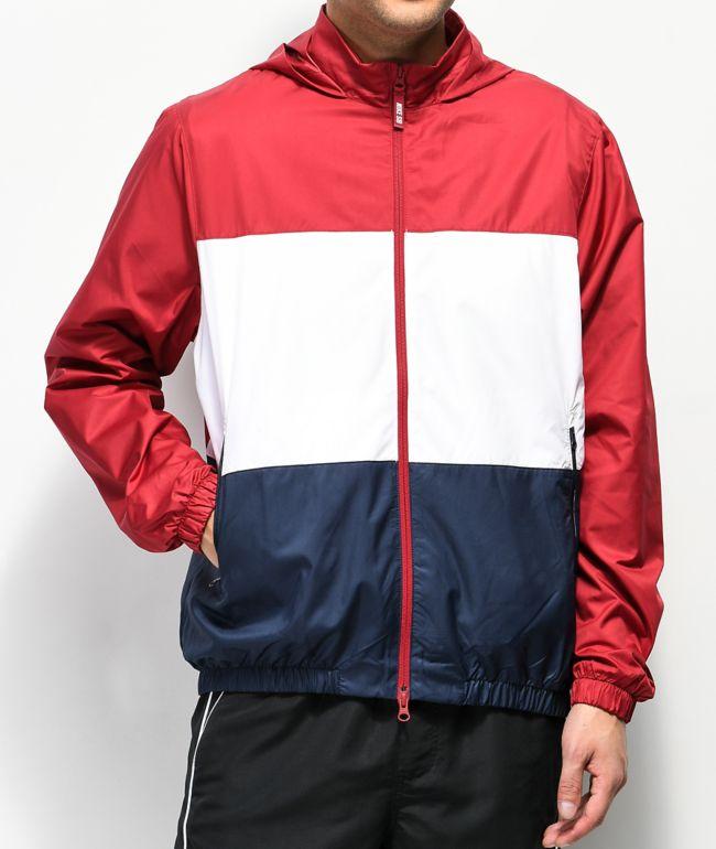 polvo término análogo Impuestos  Nike SB Shield chaqueta cortavientos roja, blanca y azul | Zumiez