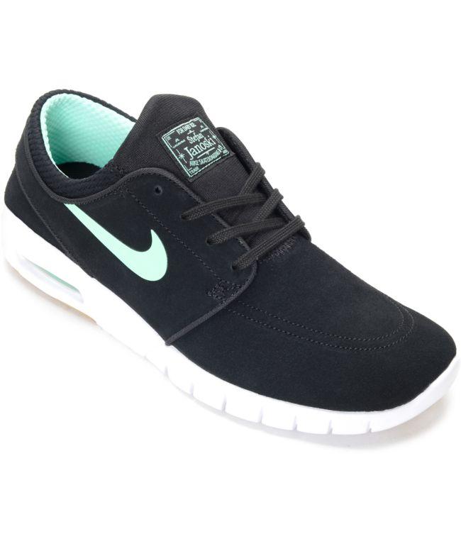 Tomate extinción Creta  Nike SB Stefan Janoski Air Max Black & Green Glow Skate Shoes | Zumiez.ca