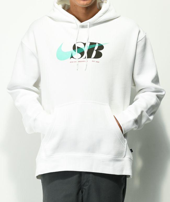 Nike SB Swoosh Through White Hoodie