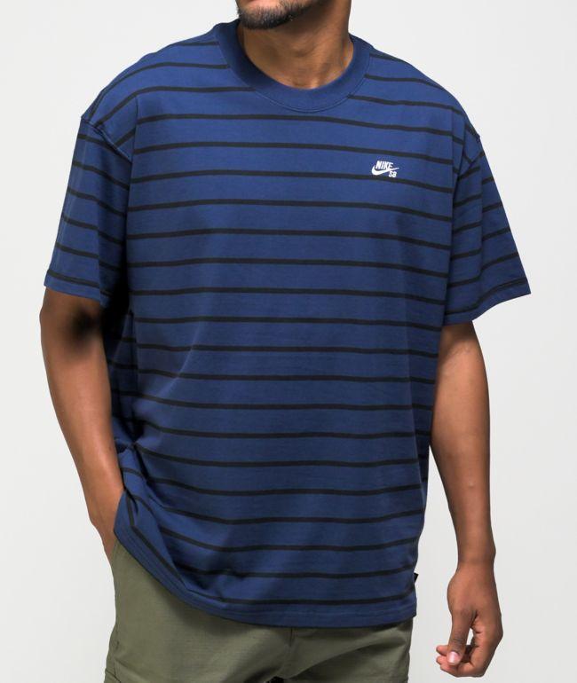 Nike SB Yarn Dye Navy Stripe Knit T-Shirt