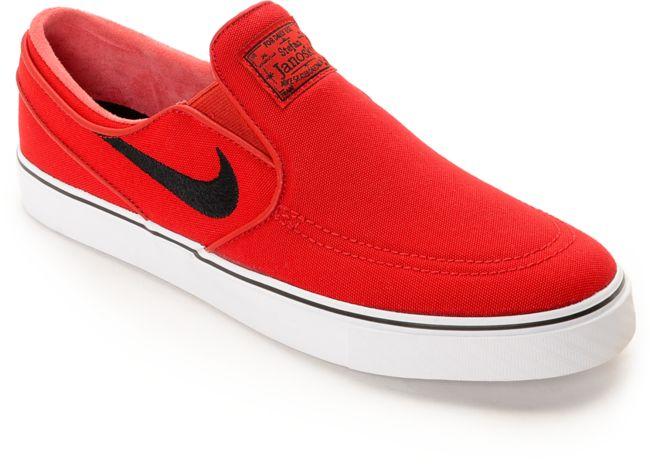 antes de Tejido Física  Nike SB Zoom Stefan Janoski University zapatos de skate rojos sin cordones  | Zumiez