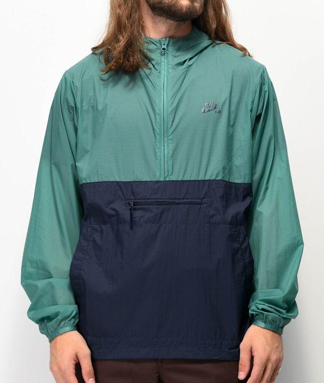 himno Nacional Articulación Coca  Nike SB chaqueta anorak azul marino y verde azulado   Zumiez