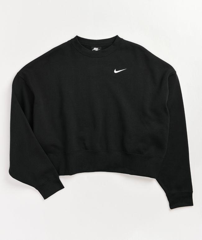 Nike Sports Wear Black Crop Crew Neck Sweatshirt