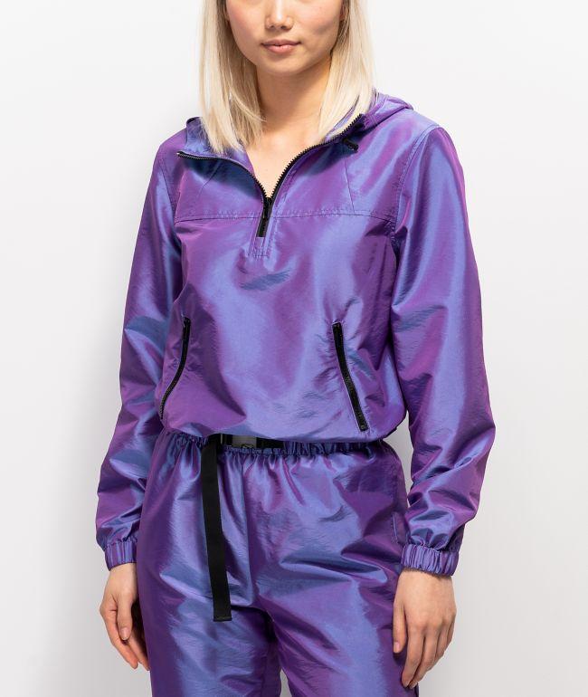 Ninth Hall Tay Iridescent Purple Half Zip Windbreaker Jacket