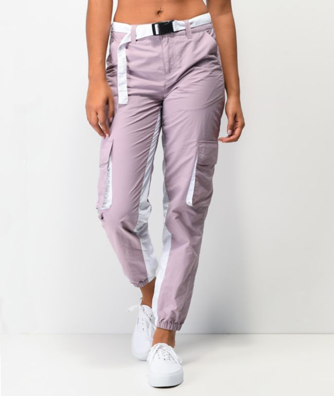 Ninth Hall Zed Belted Lavender Cargo Track Pants