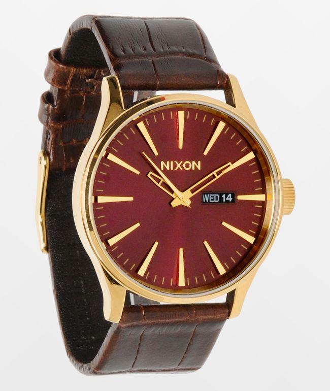 Nixon Sentry Gold, Oxblood Sunray & Brown Gator Leather Analog Watch