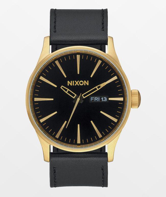 Nixon Sentry Leather Gold & Black Analog Watch