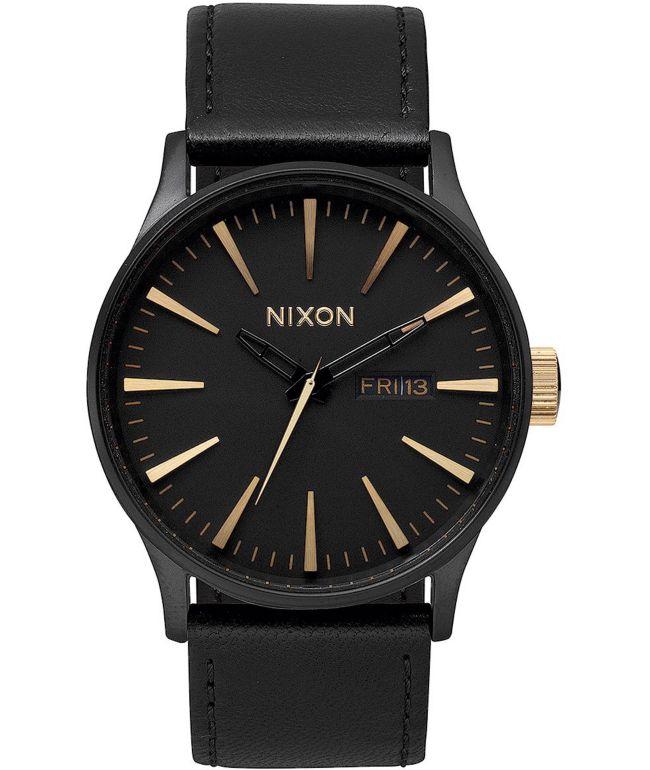 Nixon Sentry Leather Matte Black & Gold Watch