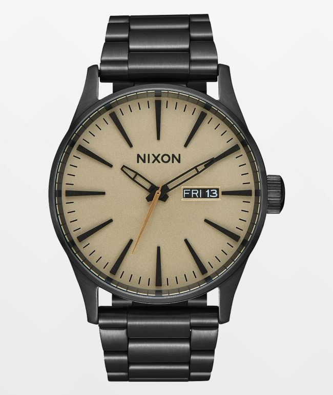 Nixon Sentry SS Black & Khaki Analog Watch