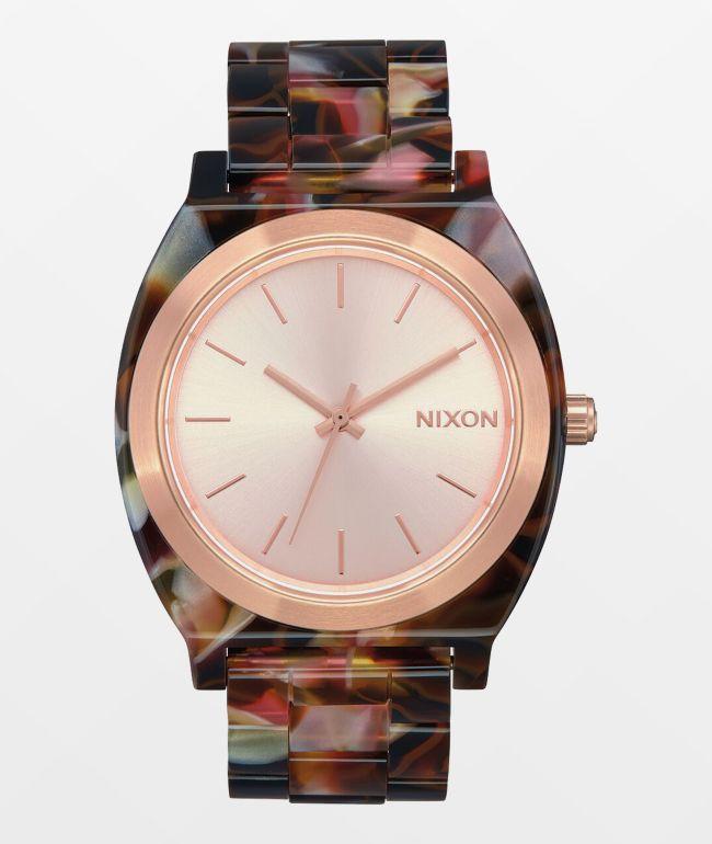 Nixon Time Teller Acetate Pink Tortoiseshell Analog Watch
