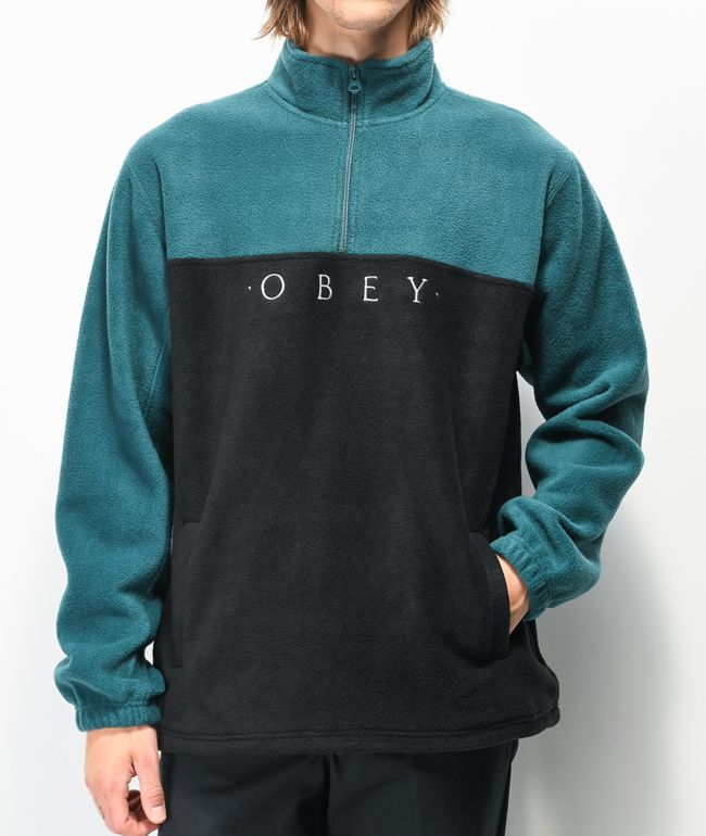 Obey Channel Black & Teal Tech Fleece Sweatshirt