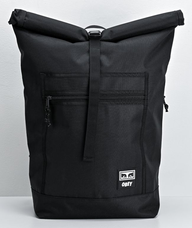 Obey Conditions Black Roll Top Backpack