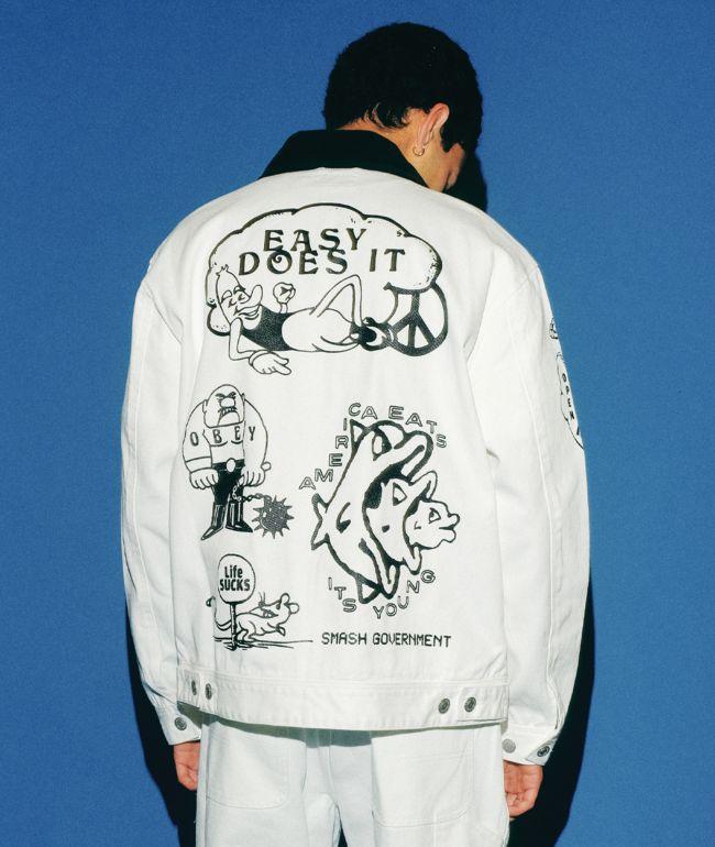Obey Dream Team White Denim Jacket