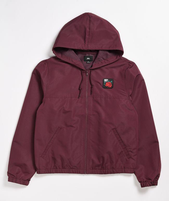 Obey Echo Burgundy Windbreaker Jacket