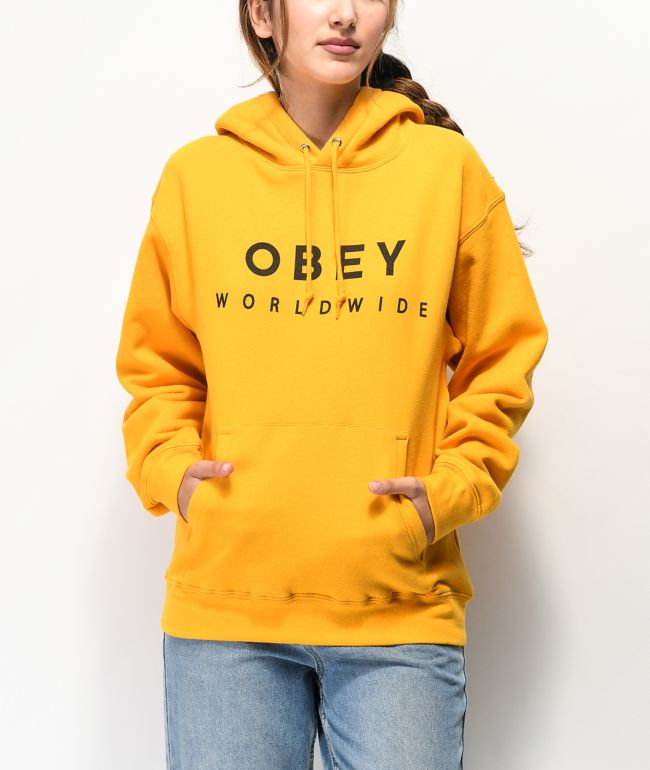 Obey Fashion Font Gold Hoodie