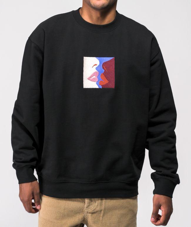 Obey Lips Black Crew Neck Sweatshirt